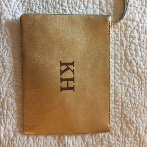 West Elm Monogrammed Gold Leather Zipper Pouch